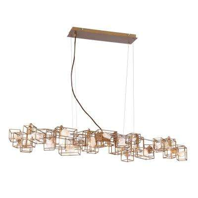 Patton Collection 7-Light Bronze Chandelier with Natural Stone Shade