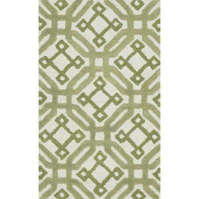 Weston Lifestyle Collection Ivory/Green 2 ft. 3 in. x 3 ft. 9 in. Accent Rug
