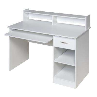 Essential White Computer Desk Hutch with Pull-Out Keyboard