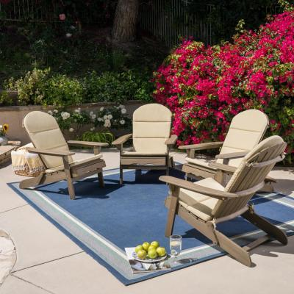 Malibu Grey Wood Adirondack Chair with Khaki Cushion (4-Pack)