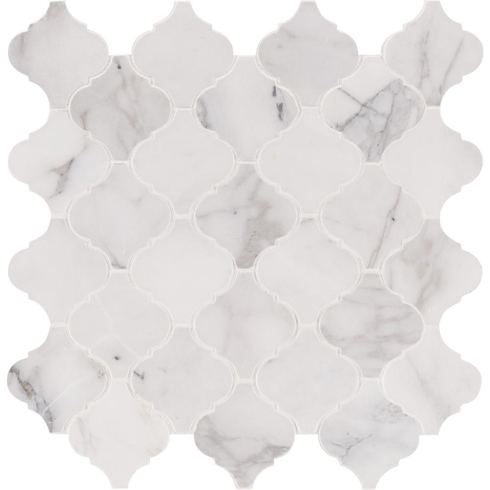 Msi Calacatta Cressa Arabesque 12 In X 10 Mm Honed Marble Mesh Mounted Mosaic Tile Sq Ft Case Calcre Arabesq The Home Depot