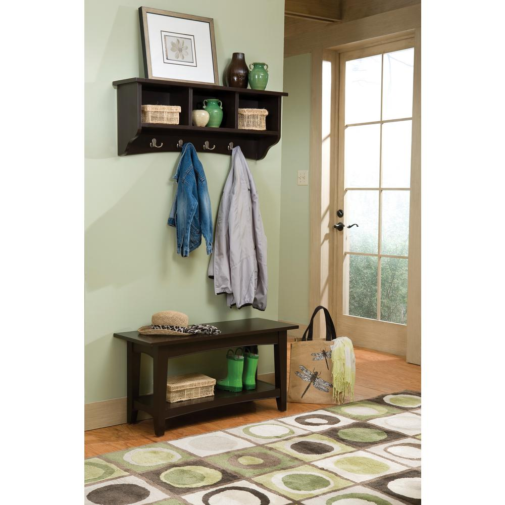 Shaker Cottage Chocolate (Brown) Hall Tree with Storage