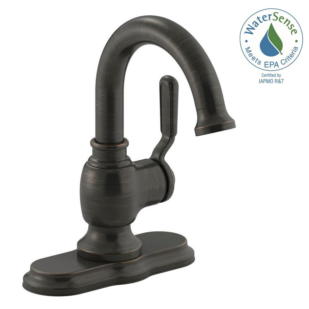 KOHLER Worth Single Hole Single Handle Bathroom Faucet In Oil Rubbed Bronze