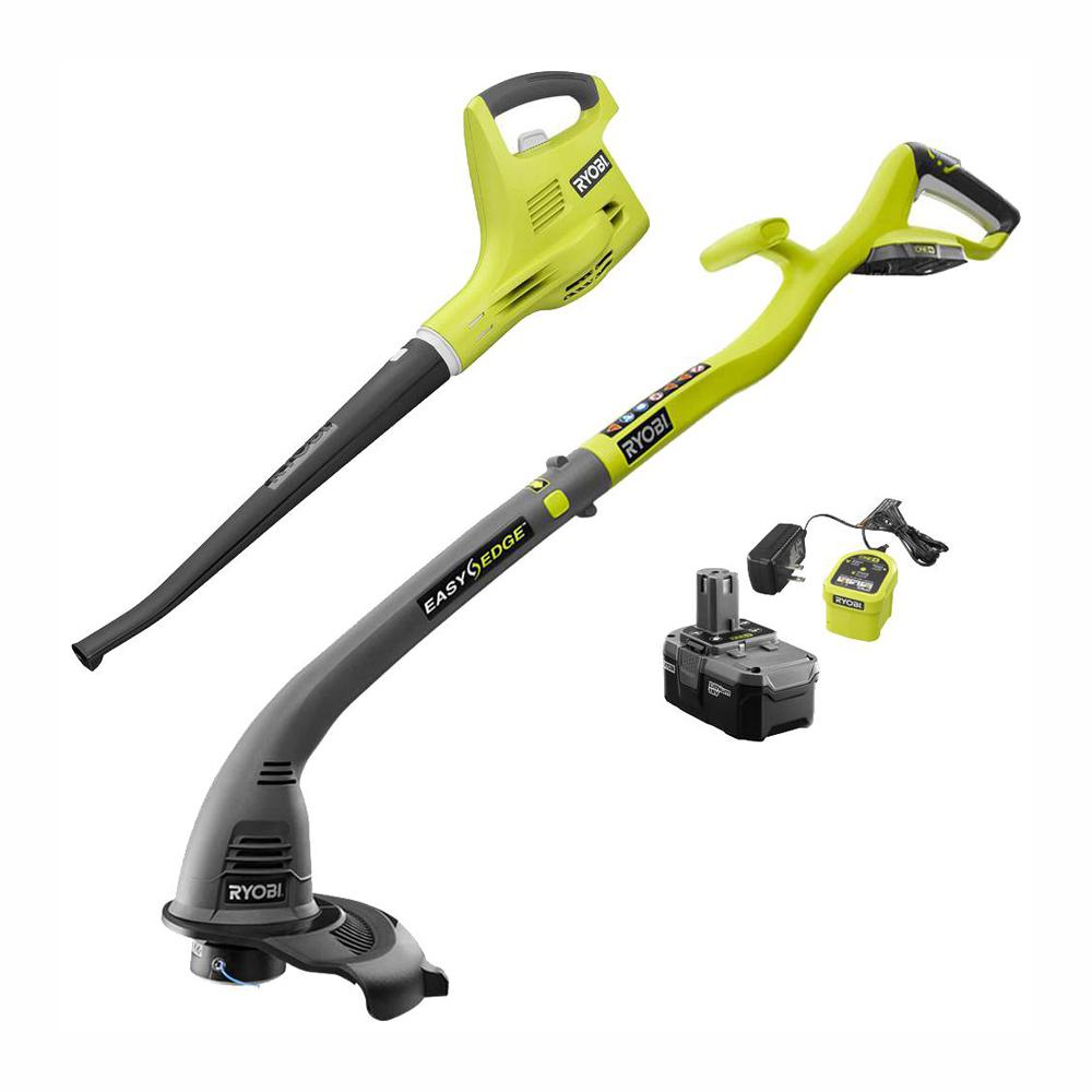 RYOBI ONE+ 18-Volt Cordless String Trimmer/Edger and Blower/Sweeper Combo Kit (2-Tool) - 2.6 Ah Battery and Charger Included
