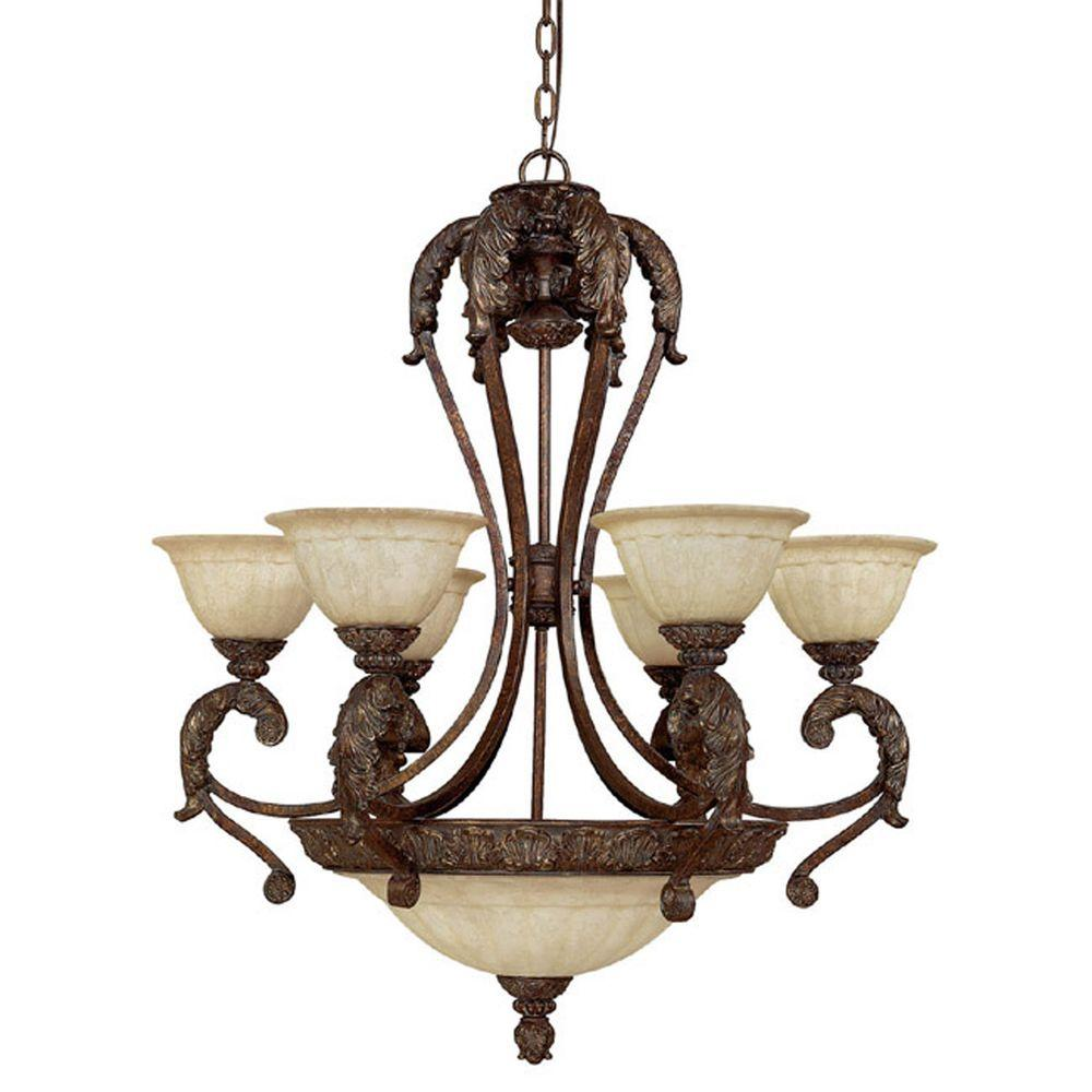 Filament Design 9-Light Gilded Bronze Chandelier with Rust Scavo Glass-DISCONTINUED