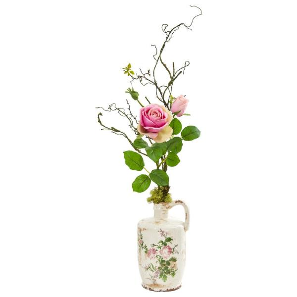Nearly Natural Rose Artificial Arrangement in Floral Design Pitcher 1910