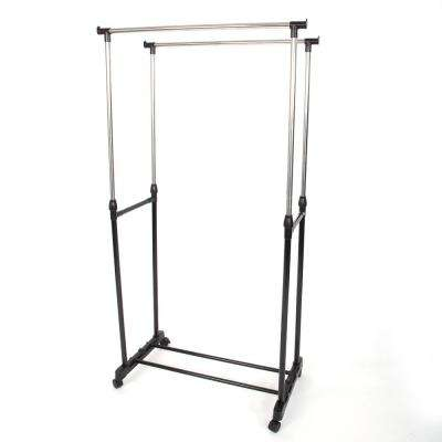 17 in. x 11 in. Dual-Bar Stainless Steel Vertical and Horizontal Stretching Stand Garment Rack in Black and Silver