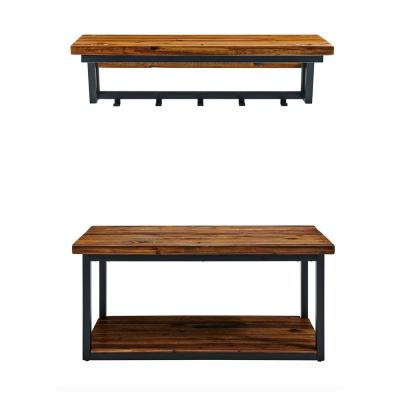 Claremont 40 in. L Rustic Wood Coat Hook and Bench Set
