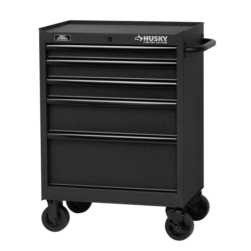 5 Drawer Tool Cabinet, Textured Black