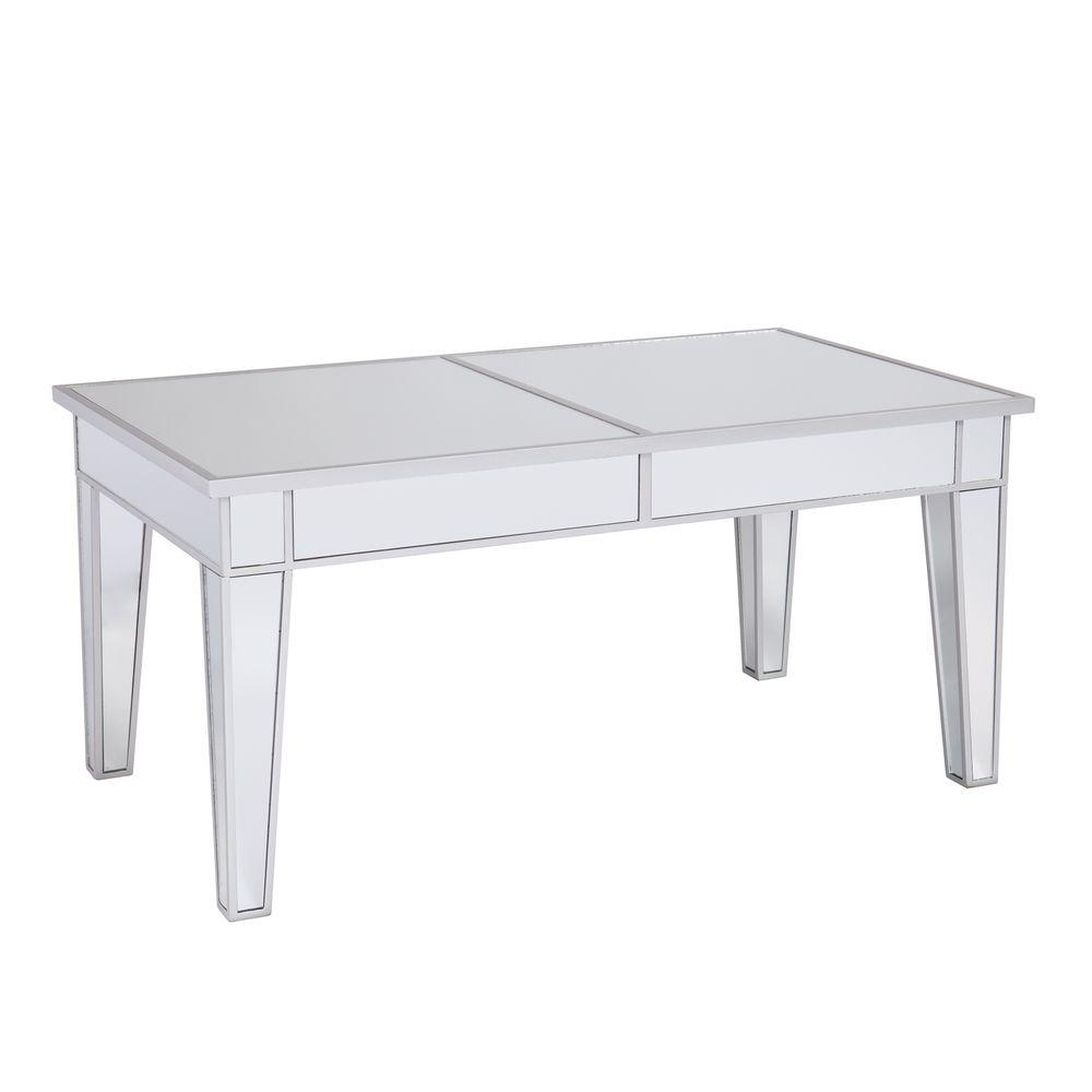 Southern Enterprises Ethel Silver Mirrored Coffee Table