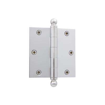 3.5 in. Ball Tip Residential Hinge with Square Corners in Bright Chrome