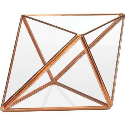 Mika 3.75 in. L x 6.75 in. W x 4.75 in. H Rose Gold Faceted Glass Triangle Terrarium