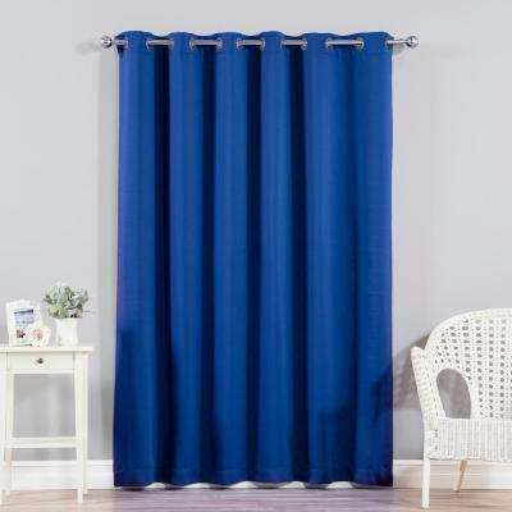 Wide Width Basic Silver 80 in W. x 96 in. L Grommet Blackout Curtain in Royal Blue