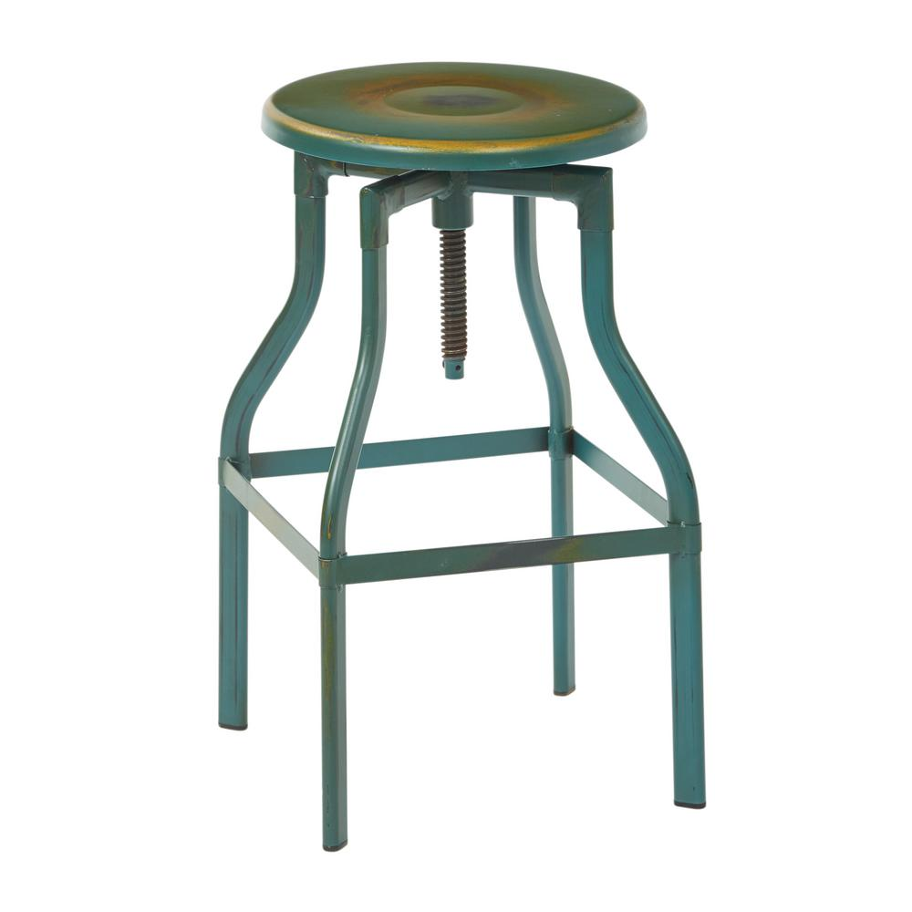 OSP Home Furnishings Eastvale 30  Metal Barstool In Antique Turquoise OSP Home Furnishings Eastvale 30  Metal Barstool In Antique Turquoise