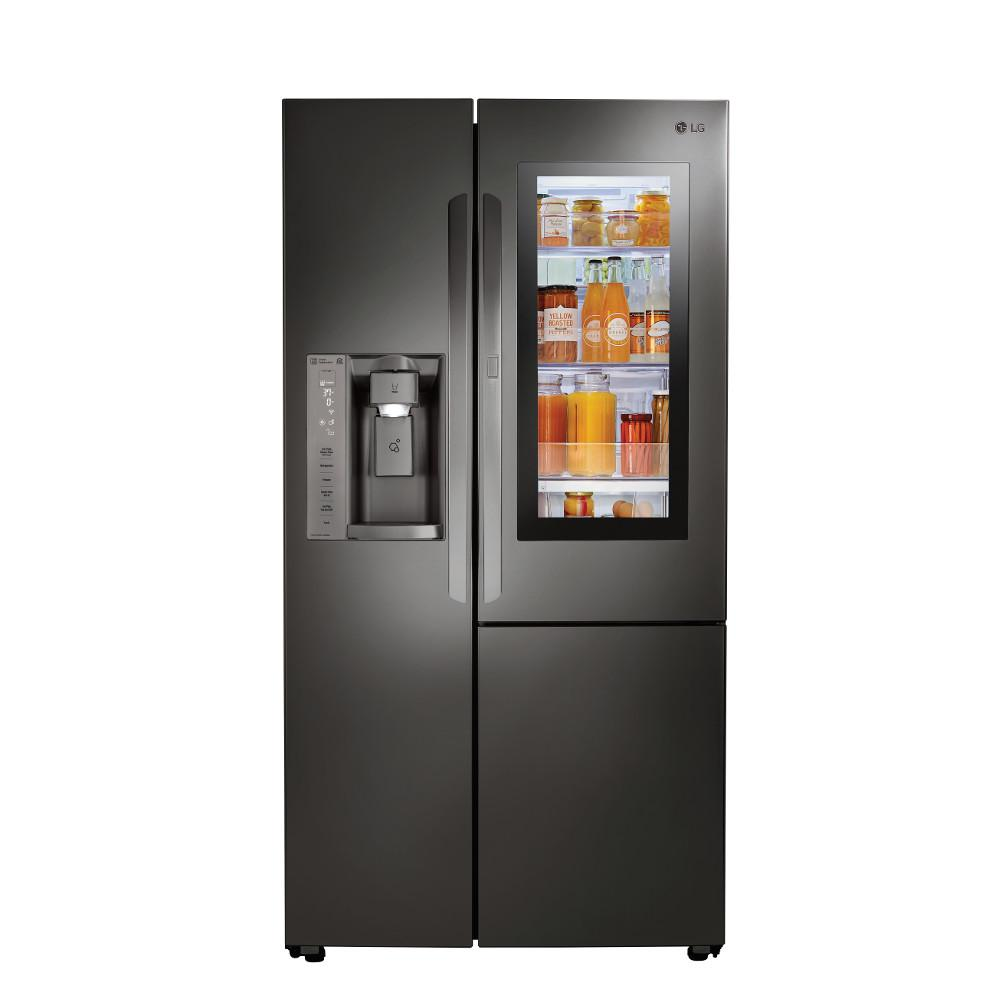 LGElectronics LG Electronics 21.7 cu. ft. Slide-in Side-by-Side Smart Refrigerator with Wi-Fi Enabled in Black Stainless Steel, Counter Depth, PrintProof Black