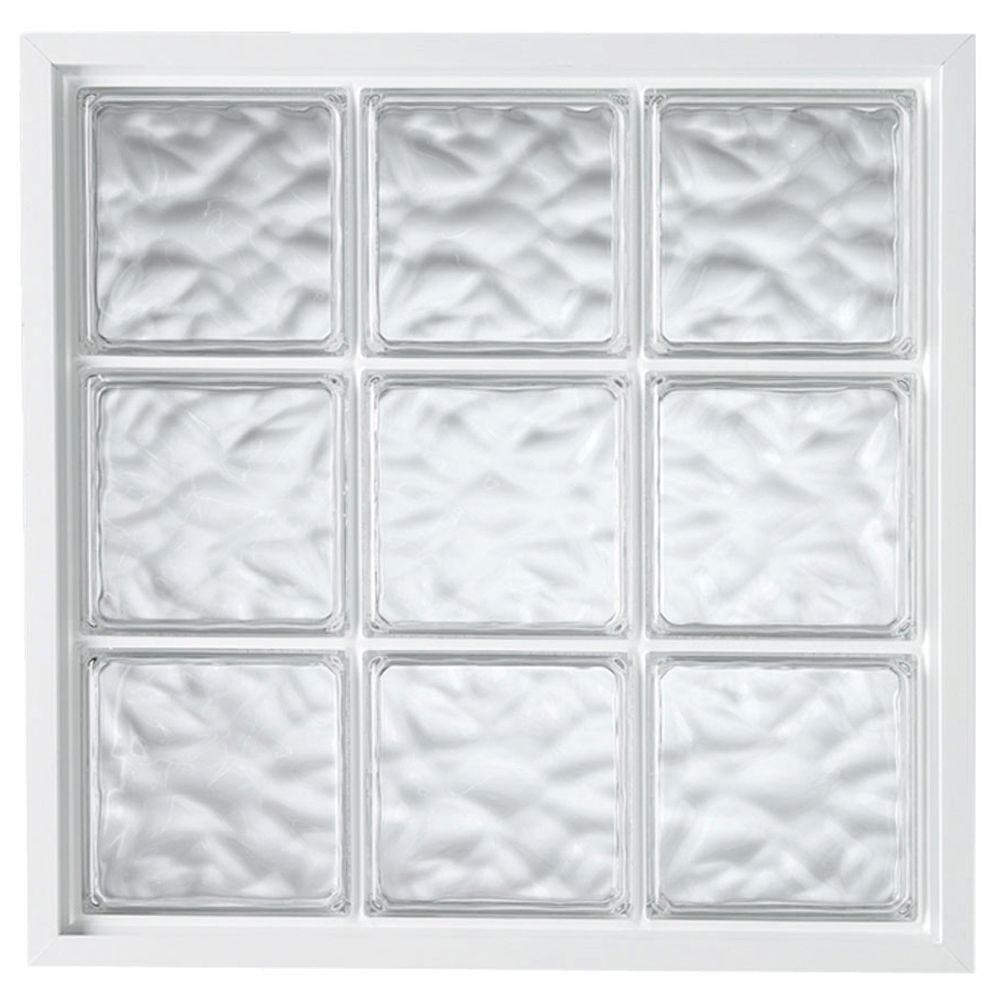 Hy-Lite 39 in. x 39 in. Glass Block Fixed Vinyl Windows Wave Pattern Glass - White