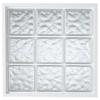 39 in. x 39 in. Glass Block Fixed Vinyl Windows Wave Pattern Glass - White