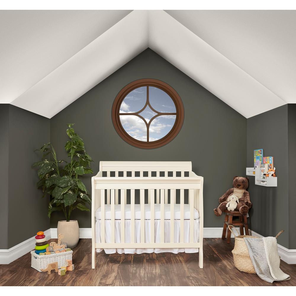 Aden French White 4-in-1 Convertible Mini Crib