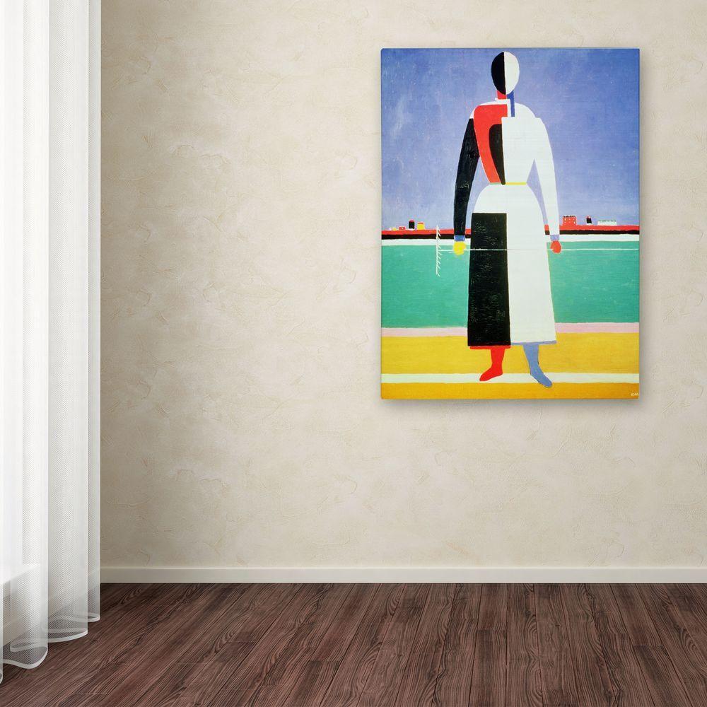 Trademark Fine Art 19 inch x 14 inch Woman with Rake Canvas Art by Trademark Fine Art