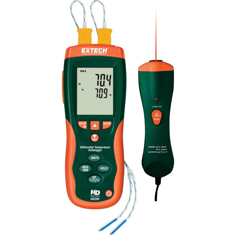 Extech Instruments Heavy Duty Type K Dual Input Thermometer with IR Probe