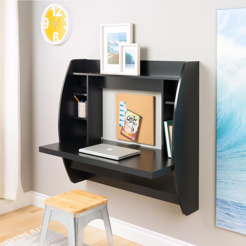 Prepac Black Desk With Shelves