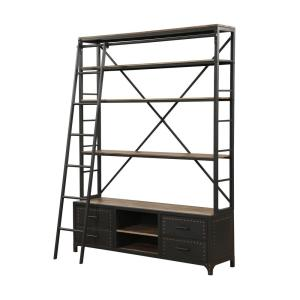 ACME Furniture Actaki Etagere Sandy Gray Bookcase with Ladder by ACME Furniture