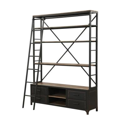 83 in. Sandy Gray Metal 6-shelf Etagere Bookcase with Open Back