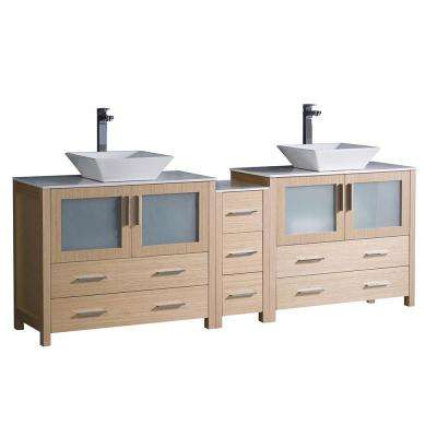 Torino 84 in. Double Vanity in Light Oak with Glass Stone Vanity Top in White with White Basins