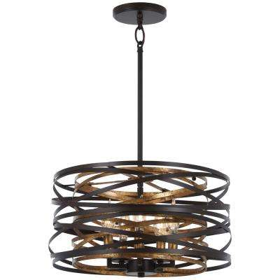 Vortic Flow 5-Light Dark Bronze with Mosaic Gold Interior Convertible Semi-Flushmount