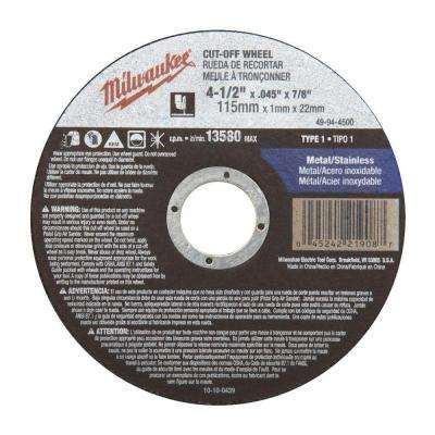 4-1/2 in. x .045 in. x 7/8 in. Cut-Off Wheel (Type 1)