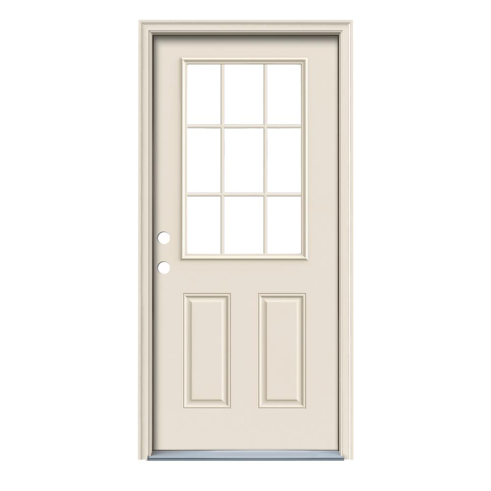 36 in. x 80 in. 9 Lite Primed Fiberglass Prehung Right-Hand