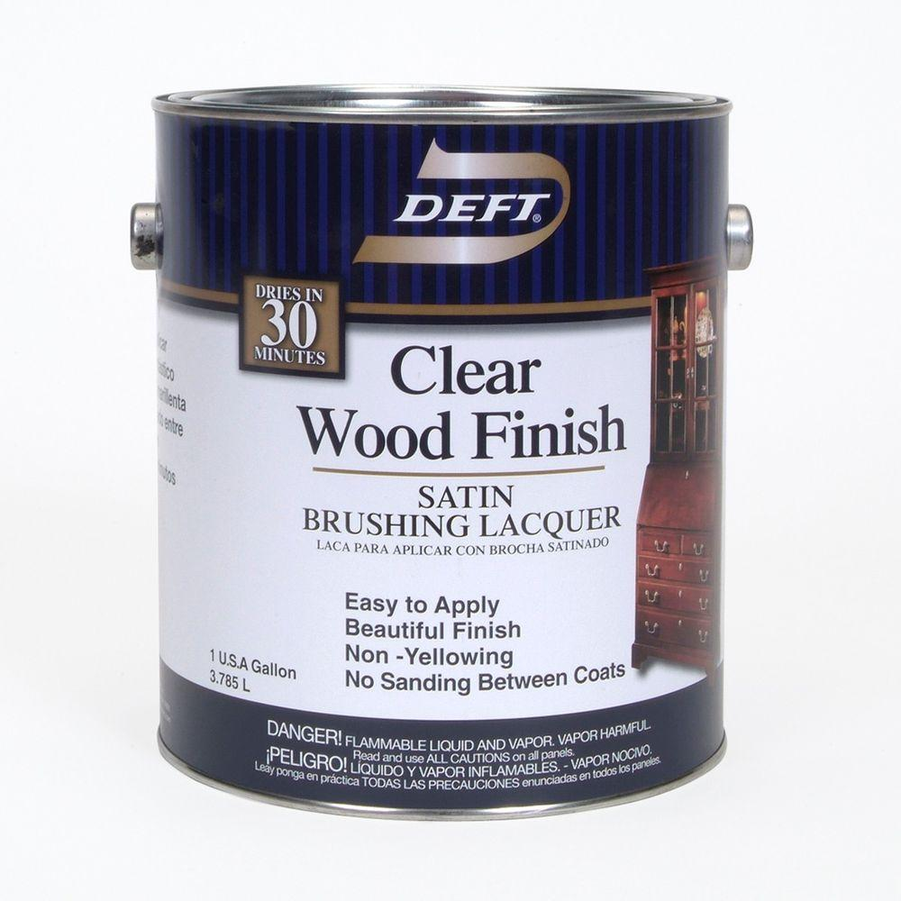 Deft 1 Gal Satin Interior Clear Wood Finish Brusing Lacquer 01701 The Home Depot