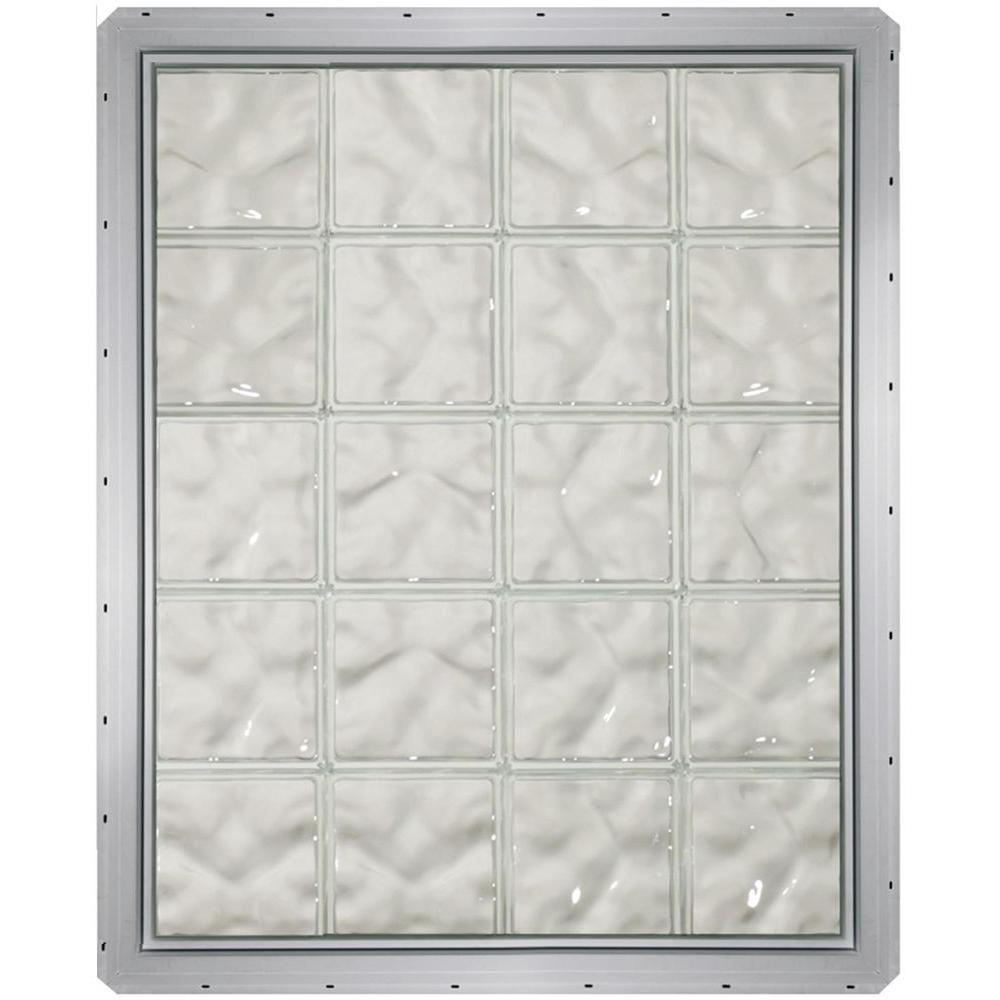 CrystaLok 31.75 in. x 39.25 in. x 3.25 in. Wave Pattern Glass Block Window with White Vinyl Nailing Fin