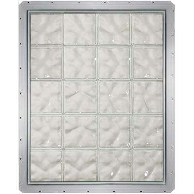 31.75 in. x 39.25 in. x 3.25 in. Wave Pattern Glass Block Window with White Colored Vinyl Nailing Fin