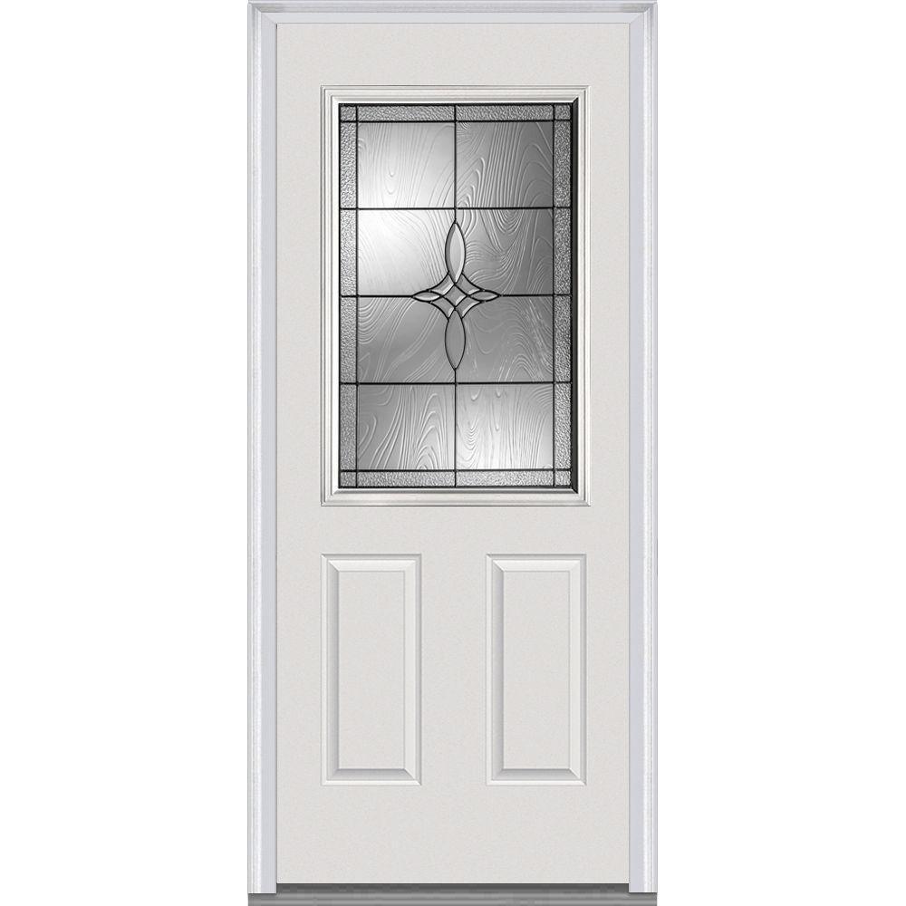 36 in. x 80 in. Lenora Left-Hand Inswing 1/2-Lite Decorative 2-Panel Primed Fiberglass Smooth Prehung Front Door