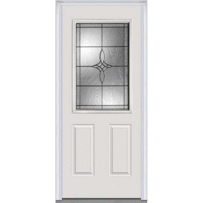 32 in. x 80 in. Lenora Right-Hand Inswing 1/2-Lite Decorative 2-Panel Primed Fiberglass Smooth Prehung Front Door