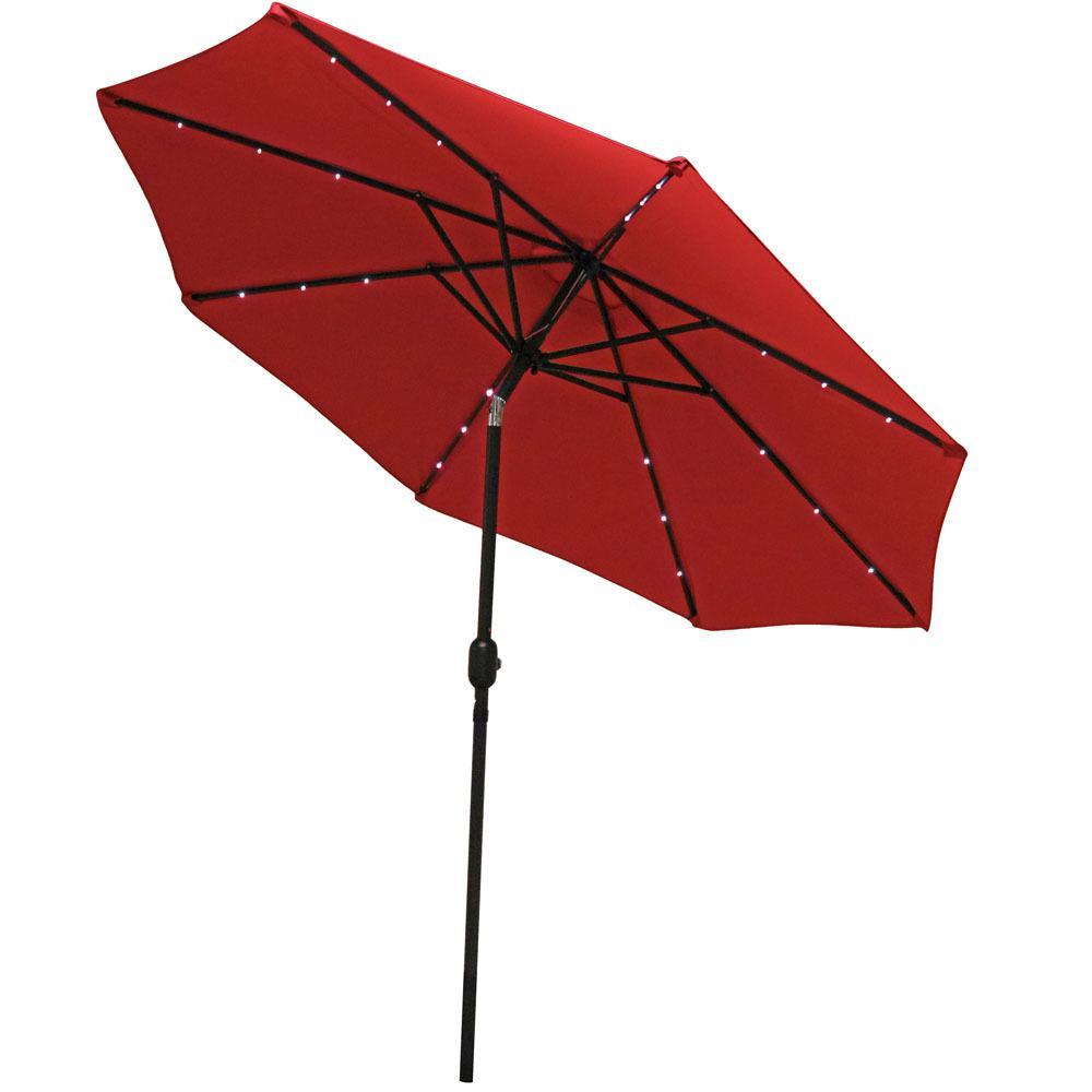 9 ft. Aluminum Market Solar Tilt Patio Umbrella in Red
