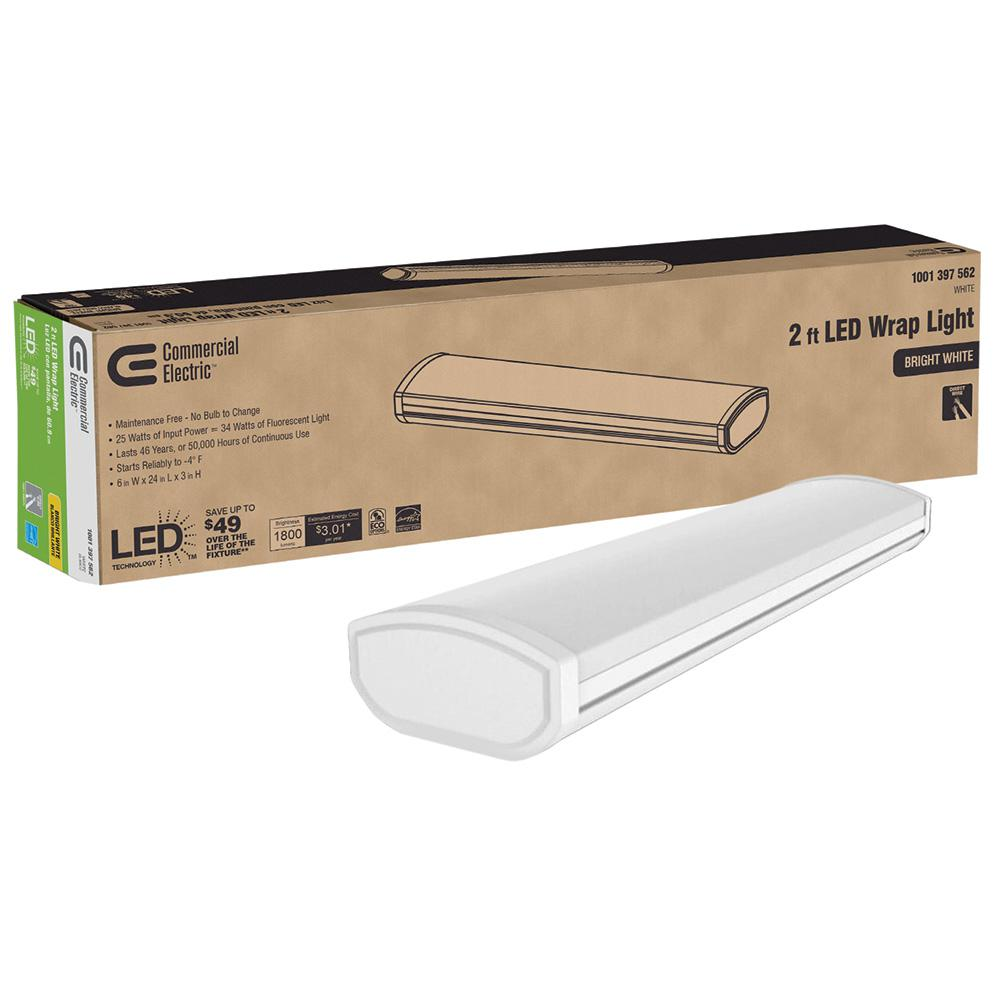 Commercial Electric Low Profile 2 Ft 1800 Lumens Integrated Led White Wraparound Ceiling Light Direct Wire 4000k Bright White 120 Volt 54655241 The Home Depot