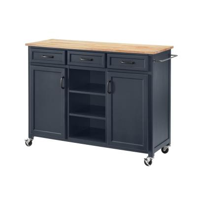 Home Decorators Collection Midnight Kitchen Cart with Butcher Block Top