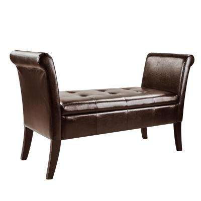 Genial Antonio Dark Brown Bonded Leather Storage Bench With Scrolled Arms