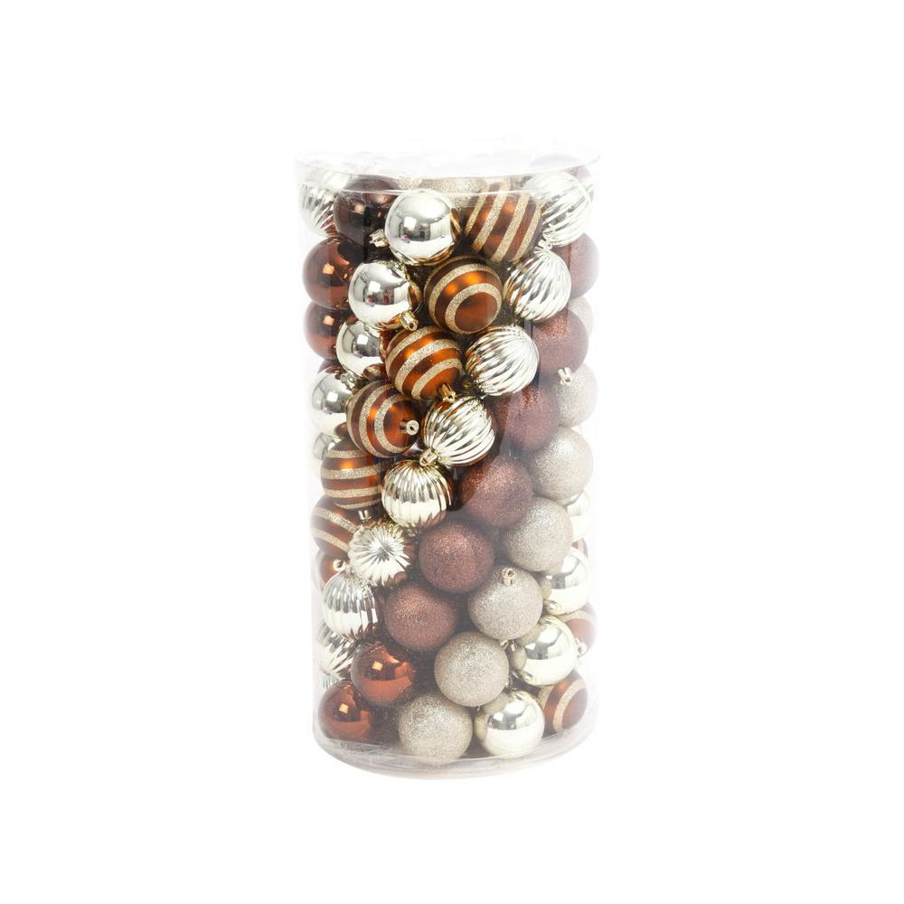Gerson Copper/Gold Shatterproof Ball Ornaments (100-Pack)