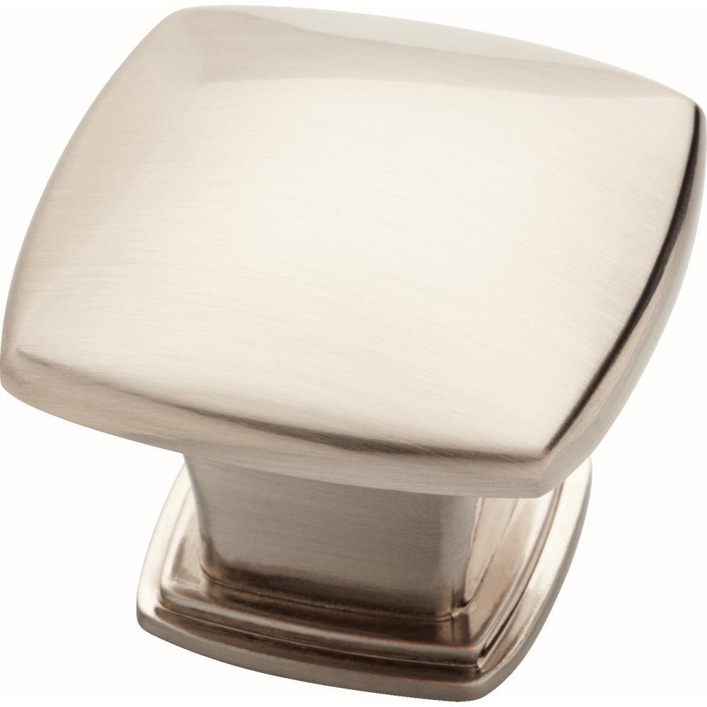 Essentials 1-1/5 in. (30 mm) Satin Nickel Soft Square Cabinet Knob (25-Pack)