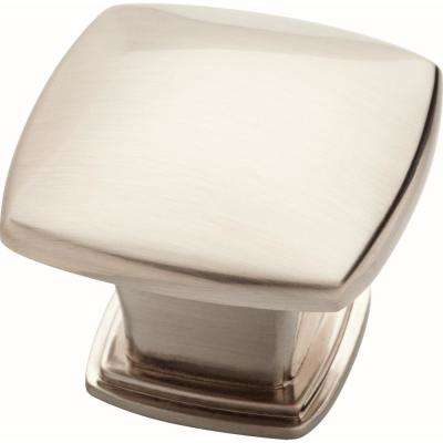 Essentials 1-1/5 in. (30 mm) Satin Nickel Soft Square Cabinet Knob (25-Pack)