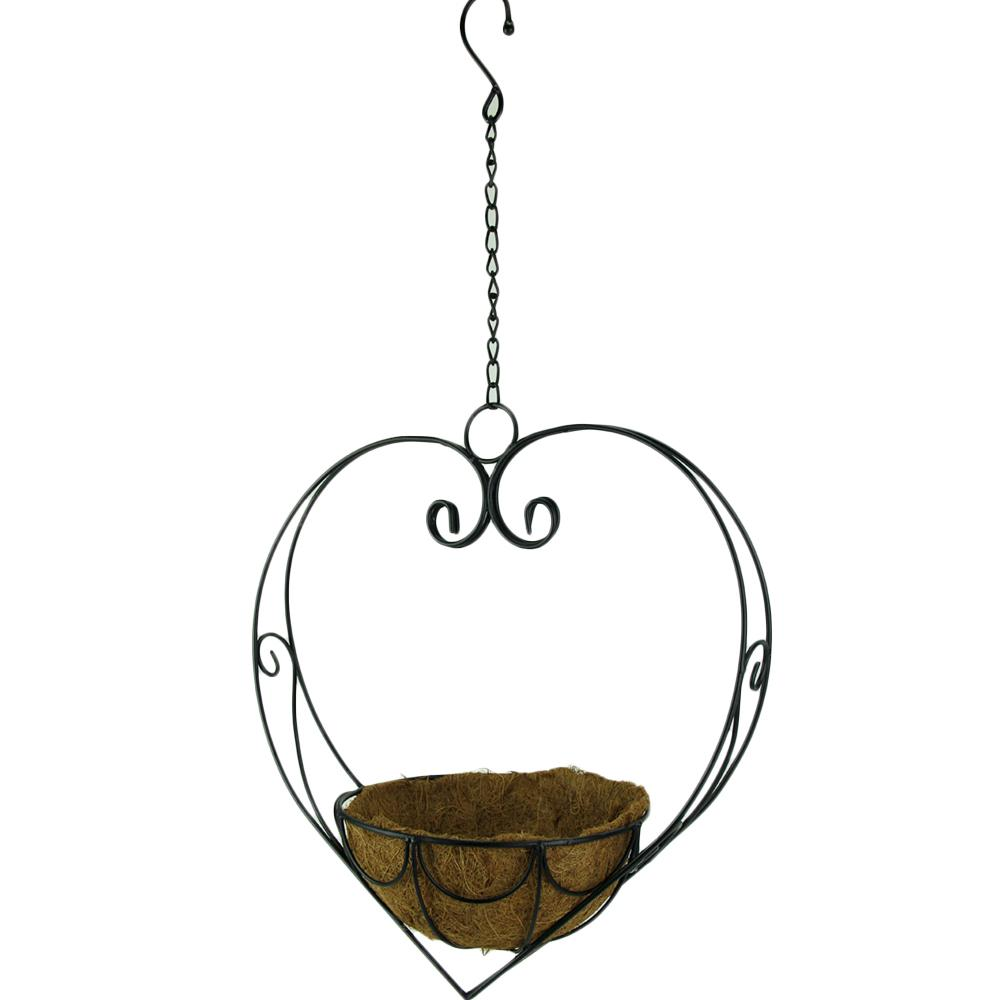 Black Scroll Heart Metal Hanging Basket with Coconut Fiber Liner