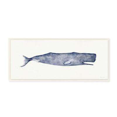 "7 in. x 17 in. ""Classic Whale Watercolor Blue Illustration"" by Stephanie Workman Marrott Wood Wall Art"