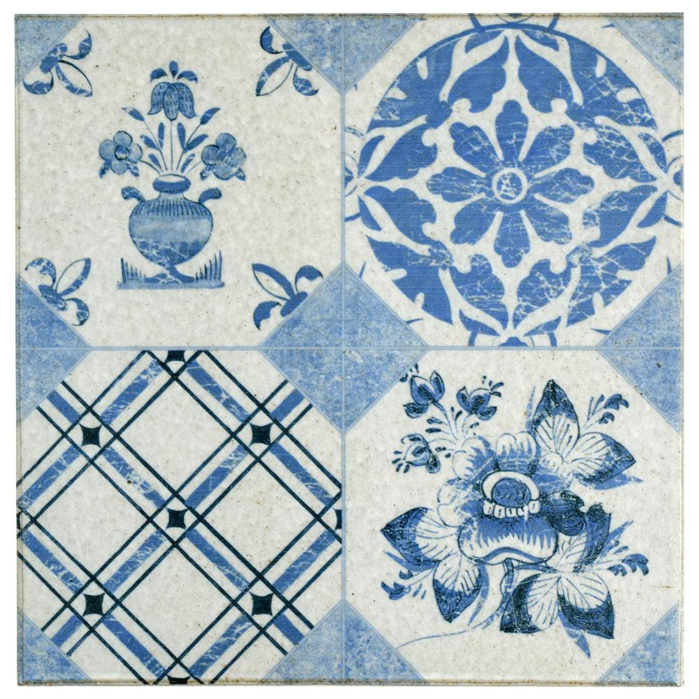 Merola Tile Klinker Retro Azul Mix 9-5/8 in. x 9-5/8 in. Ceramic ...