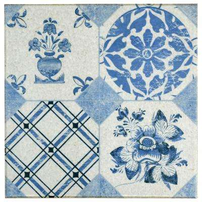Klinker Retro Azul Mix 9-5/8 in. x 9-5/8 in. Ceramic Floor and Wall Quarry Tile