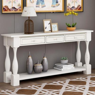 65 in. White Standard Rectangle Wood Console Table with Drawers