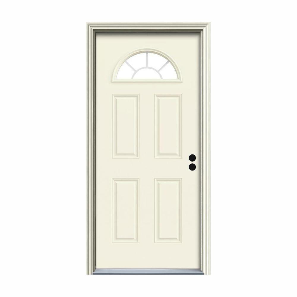 36 in. x 80 in. Fan Lite Vanilla Painted Steel Prehung Left-Hand Inswing Front Door w/Brickmould