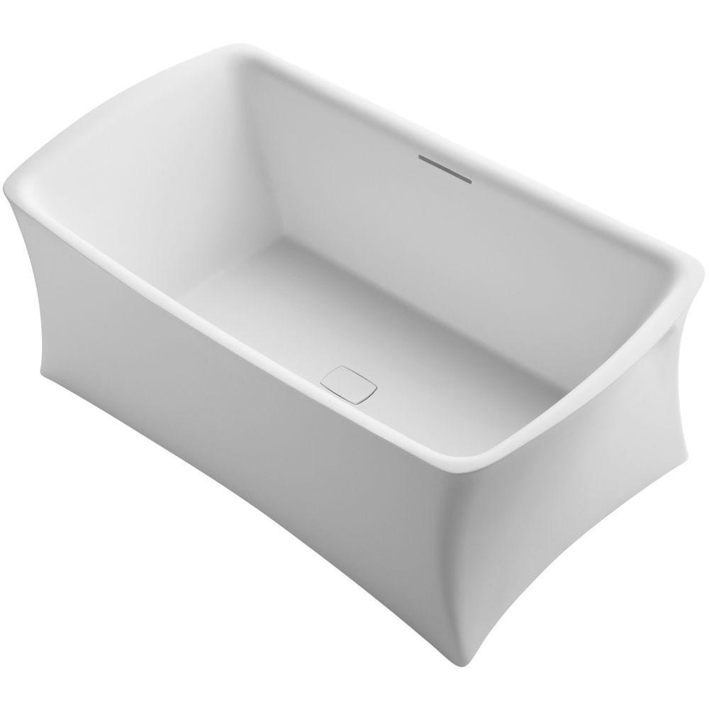 Aliento 5.5 ft. Acrylic Flat Bottom Non-Whirlpool Bathtub in Honed White